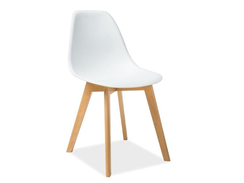 Scaun din plastic si lemn Moris alb
