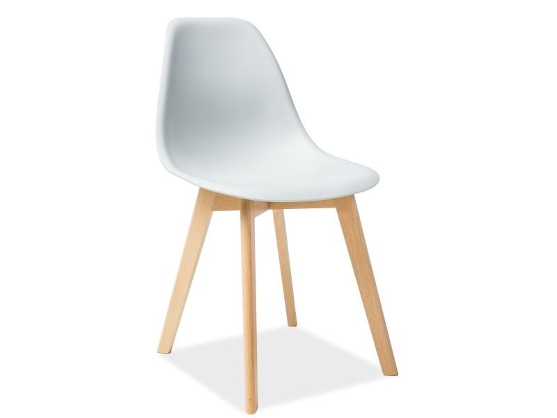 Scaun din plastic si lemn Moris gri