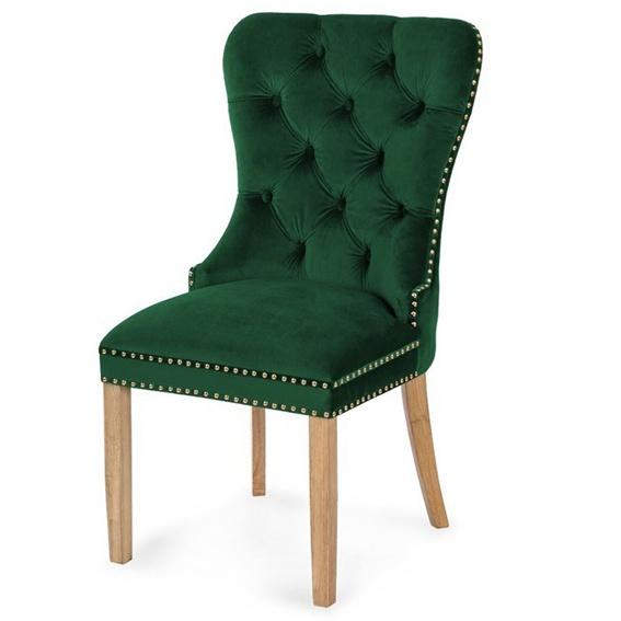 Scaun tapitat Madame II Gold - verde