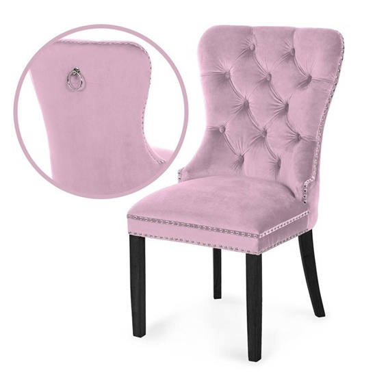 Scaun tapitat Madame negru - roz