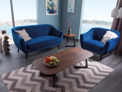 Canapea catifea Molly II albastru