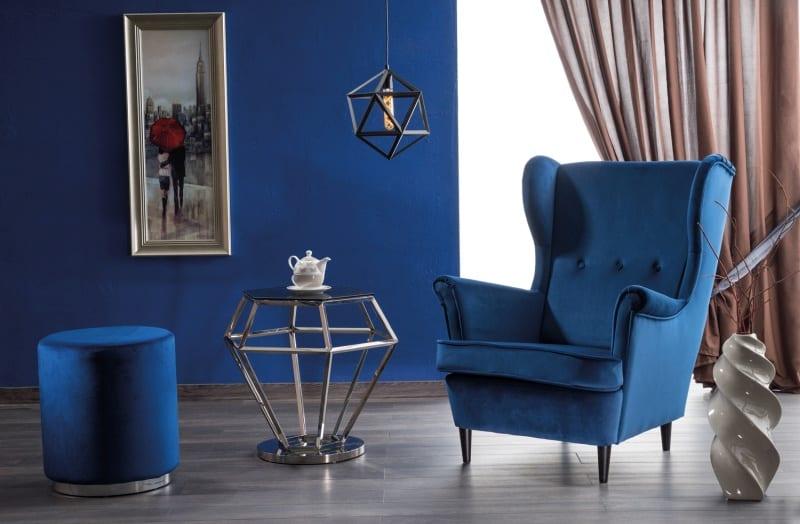 Taburet catifea Furla Silver albastru H48 x D42 cm 1
