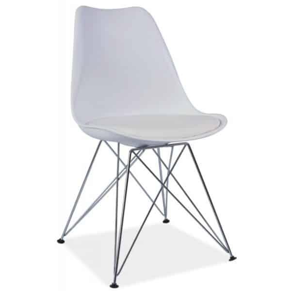 Scaun din metal tapițat alb Tim