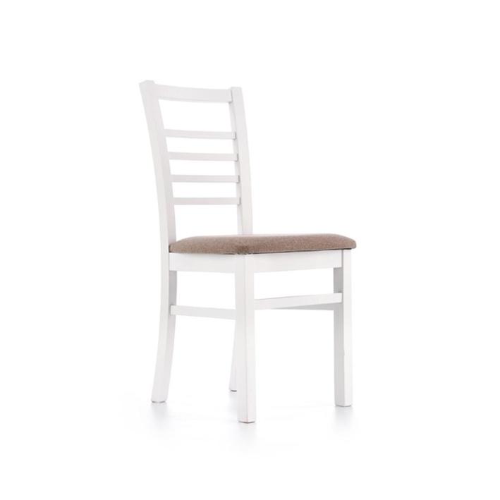 Scaun lemn tapitat Adrian alb