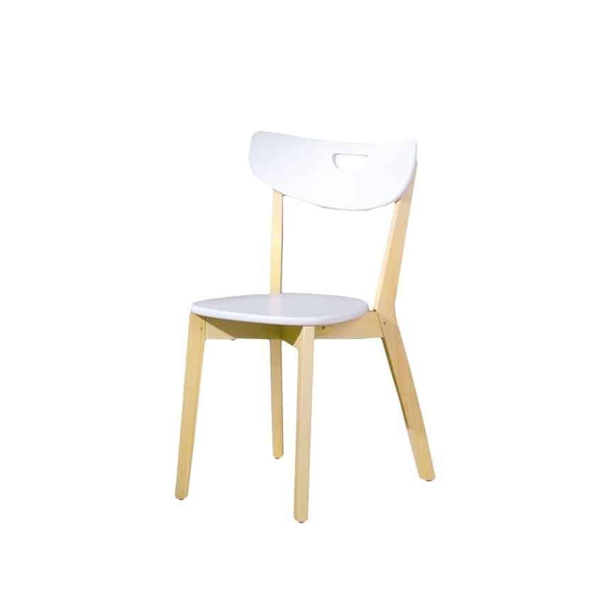 Scaun lemn & MDF Peppi alb H80 cm