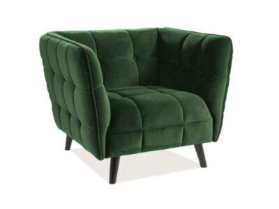 Fotoliu tapitat Castello Velvet 1 Verde