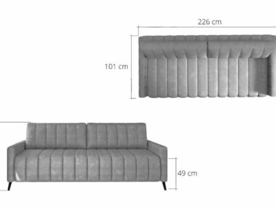 Canapea extensibila cu lada de depozitare Molly