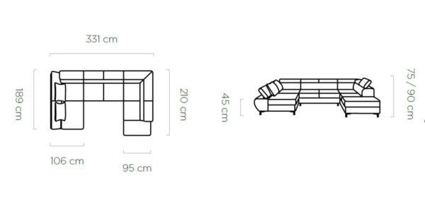 Coltar extensibil cu lada de depozitare Flame XL