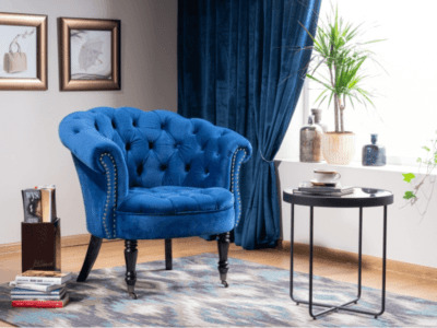 Fotoliu tapițat Philips Velvet Albastru