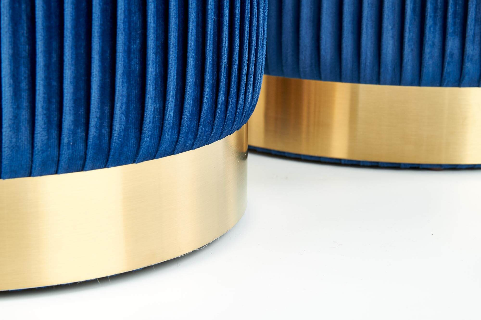 Set tabureti tapitati Monty Albastru / Gold