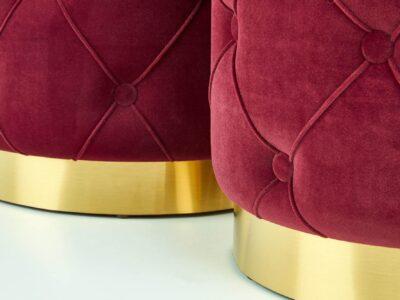 Set tabureti tapitati Polly Rosu Inchis / Gold