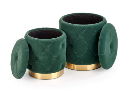 Set tabureti tapitati Polly Verde / Gold