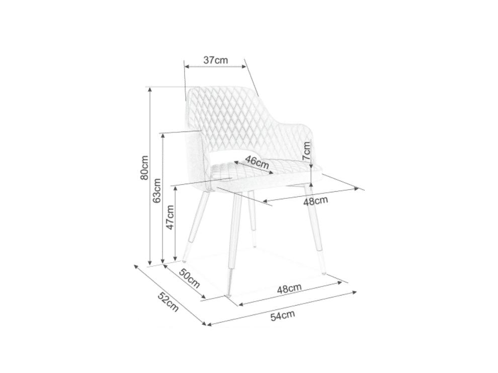 Scaun tapitat Franco Velvet Gri / Negru H82 cm