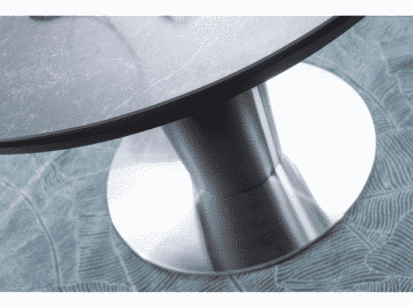 Masa extensibila rotunda Orbit Ceramic Marmura Gri Antracit Negru D120-160 x H76 cm
