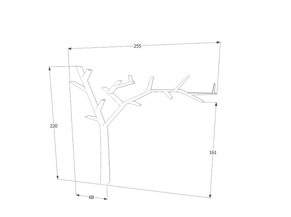 Raft suport carti Poprad alb dreapta L255 x l15 x H220 cm
