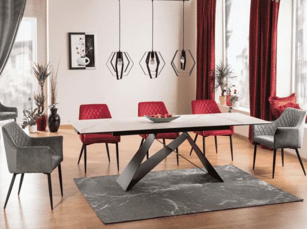 Scaun tapitat Sergio Velvet Bordo / Negru H85 cm