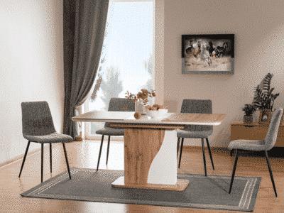 Masa Extensibila Syriusz Stejar/Alb Mat L120-160 x 80l x 76h cm