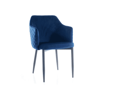 Scaun tapitat Astor Velvet Albastru / Negru H84 cm