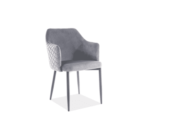 Scaun tapitat Astor Velvet Gri / Negru H84 cm