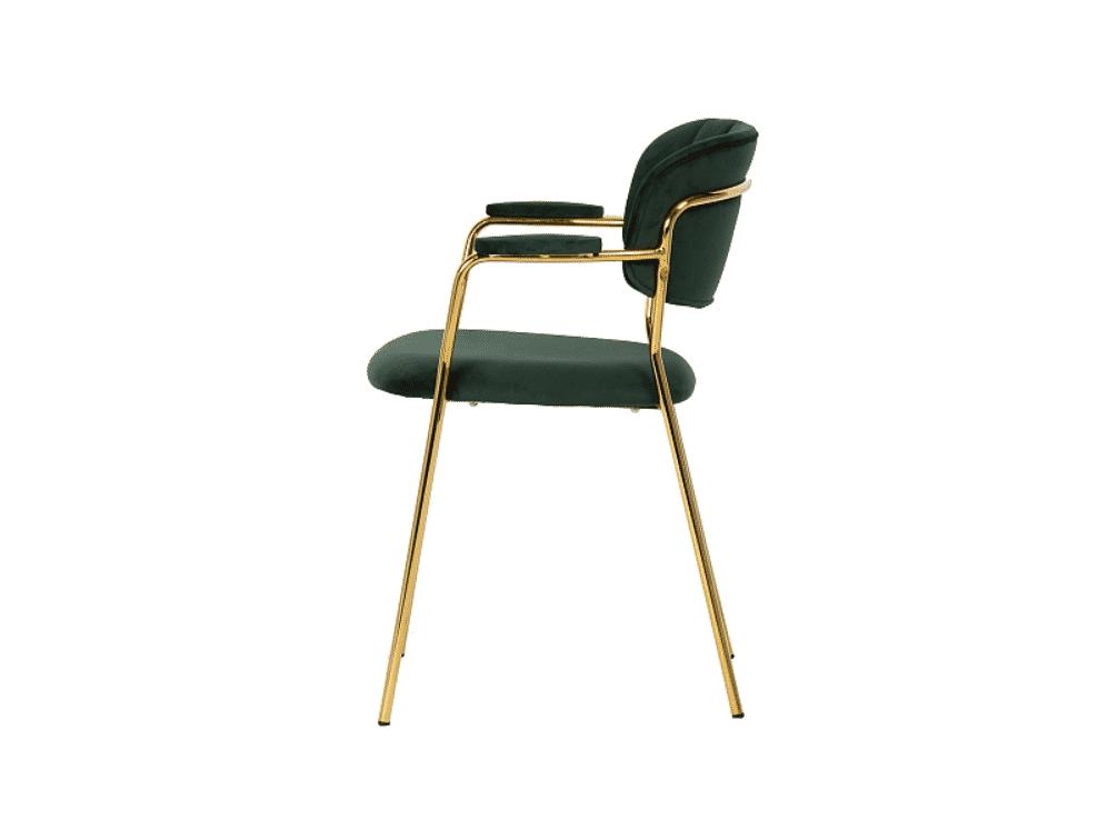 Scaun tapitat Carlo II Velvet Verde / Gold H80 cm