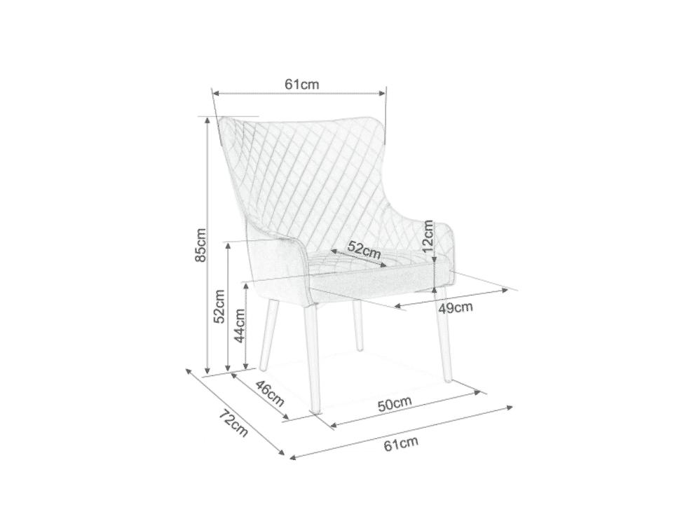 Scaun tapitat Colin F Velvet Gri / Negru H88 cm
