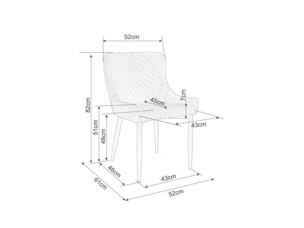 Scaun tapitat Colin B Velvet Albastru / Negru H84 cm