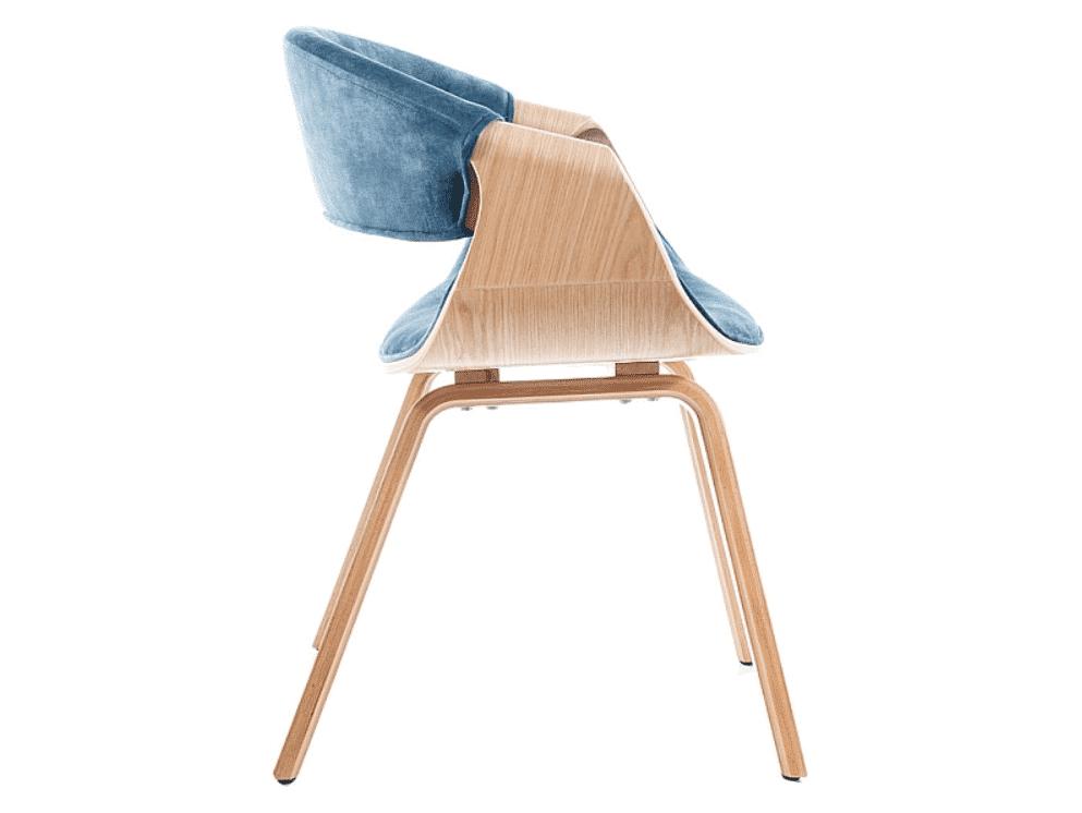Scaun lemn Dakota Velvet Albastru H79