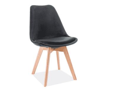 Scaun catifea stejar Dior negru H86 cm