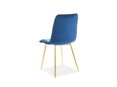 Scaun tapitat catifea Eros Albastru / Gold
