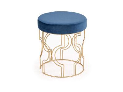 Taburet tapitat Ferrero Velvet Albastru / Gold