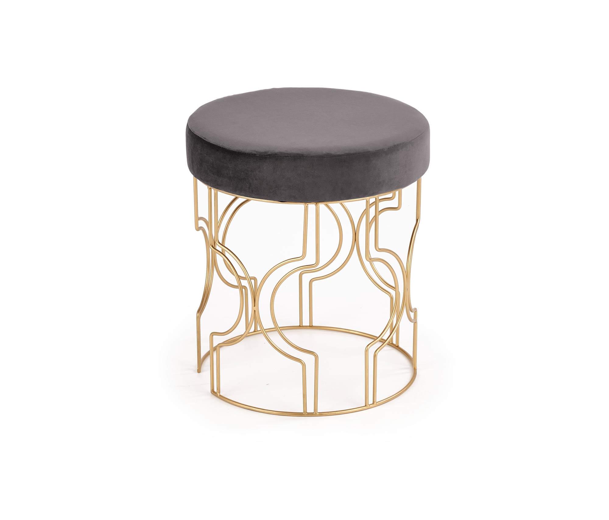 Taburet tapitat Ferrero Velvet Gri / Gold