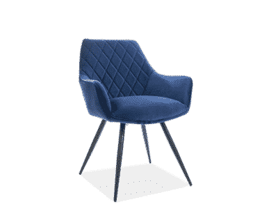 Scaun tapitat Linea Velvet Albastru / Negru H82 cm