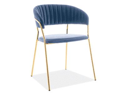 Scaun tapitat Lira Velvet Albastru / Gold H75 cm