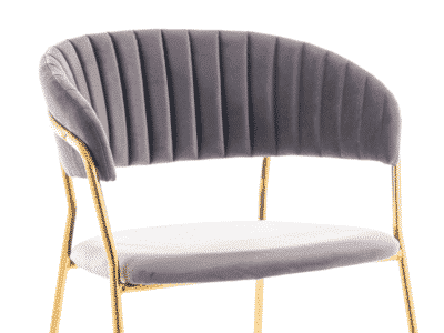 Scaun tapitat Lira Velvet Gri / Gold H75 cm