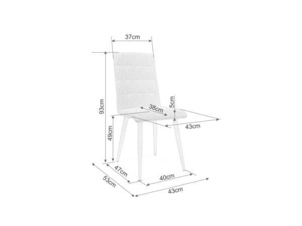 Scaun tapitat Otto Negru / Alb H94 cm