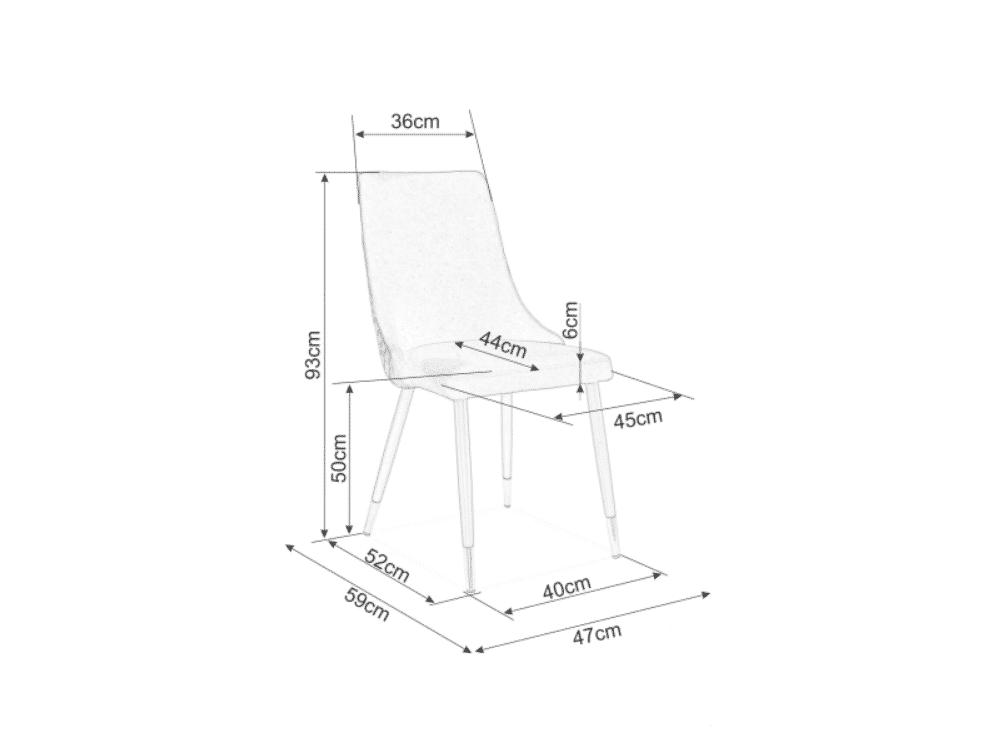 Scaun tapitat Piano Velvet Albastru / Negru H92 cm