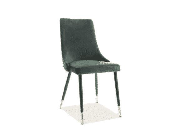 Scaun tapitat Piano Velvet Verde / Negru H92 cm