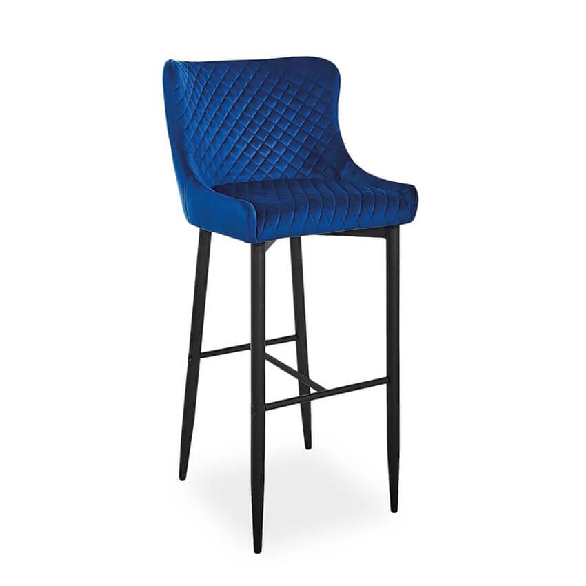 Scaun bar catifea Colin B H-1 albastru H109 cm