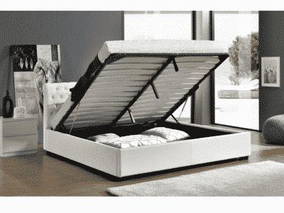 Pat tapitat piele ecologica DORLEN alb 160×200 cm