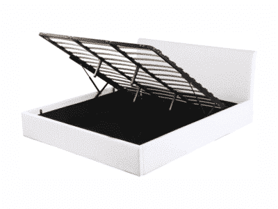 Pat tapitat piele ecologica KERALA alb 160×200 cm