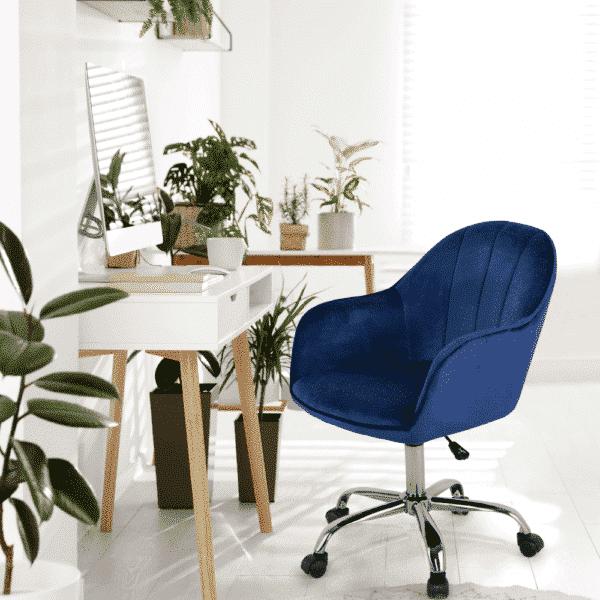 Scaun de birou EROL catifea albastru
