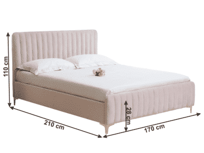 Pat tapitat catifea KAISA roz 160×200 cm
