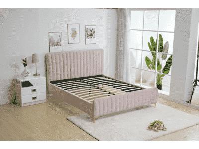 Pat tapitat catifea KAISA roz 180×200 cm