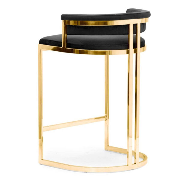 Scaun bar tapitat Vegas negru / gold h68