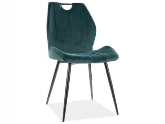 Scaun tapitat Arco Velvet Verde / Negru H91 cm