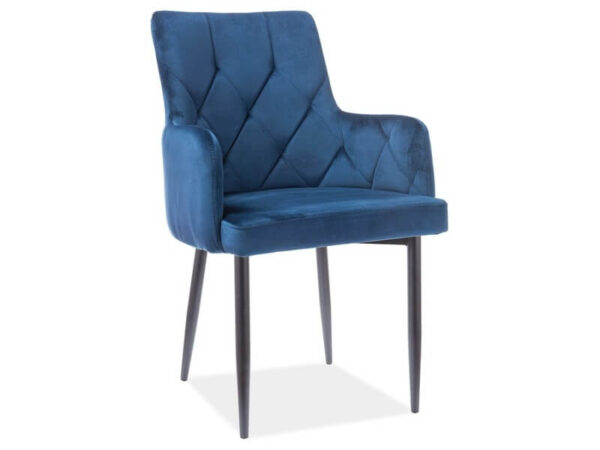 Scaun tapitat Ricardo B Velvet Albastru H88 cm