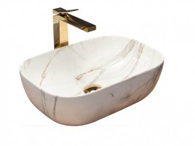 Lavoar Belinda Shiny marmura ceramica sanitara – 46 cm
