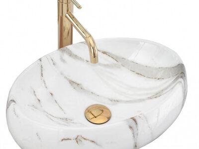 Lavoar Linda alb marmura ceramica sanitara – 48,5 cm