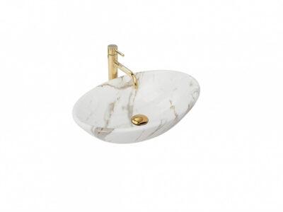 Lavoar Pamela Shiny Marmura ceramica sanitara – 53 cm