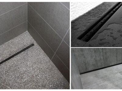 Set rigola pentru dus cu capac Neo Slim Pro Negru – 80 cm